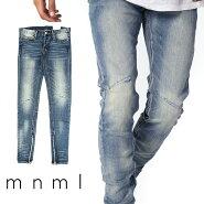 mnmlミニマルクラッシュダメージジーンズM12STRETCHDENIMBLUEデニムパンツストレッチデニムスキニースキニージーンズジーンズメンズジップ付サイドジッパーサイドジッパー裾ジップZIPインポートブランドストリートファッション