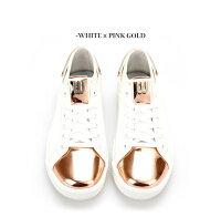 【送料無料】シルバーゴールドピンクゴールドとミラーのように輝くおしゃれなメンズゴルフシューズウォータープルーフ撥水Silver/Gold/PinkGoldWaterProofLADY'SGOLFSHOES