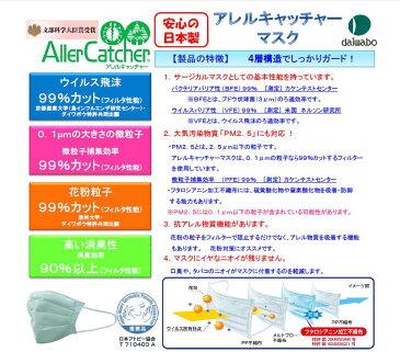 【日本製】pm2.5・花粉・黄砂・インフルエンザ対策マスク!4層構造のフィルターがあらゆる細菌、ほこりを強力ブロック!アレルキャッチャーマスク・大人用(10枚入り)【メール便送料無料対象商品】