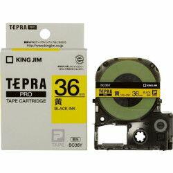 キングジム SC36Y カラーラベルテープ「テプラPRO」(黄テープ/黒文字/36mm幅) 目安在庫=○