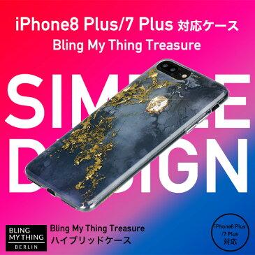 iPhone8 Plus ケース iPhone7 Plus ケース スワロフスキー 耐衝撃 大理石 マーブル 柄 スカル ドクロ クリスタル 衝撃 吸収 スリム ハード カバー ストラップ ホール 付 キラキラ かっこいい Qi ワイヤレス 充電 対応 アイフォン 8プラス 7プラスBling My Thing TREASURE