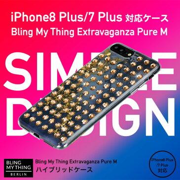iPhone8 Plus ケース iPhone7 Plus ケース スワロフスキー 大理石 マーブル 柄 キラキラ ラインストーン 薄型 カバー ストラップ ホール 付 大人 女子 かわいい ブランド Qi ワイヤレス 充電対応 アイフォン8プラス アイフォン7プラス 対応 Bling My Thing Extravaganza Pure