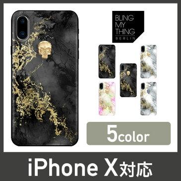 iPhoneXs iPhoneX ケース スワロフスキー 耐衝撃 大理石 マーブル 柄 × クリスタル スカル ドクロ 衝撃 吸収 ハード カバー ストラップ ホール 付 Swarovski デザイン Qi ワイヤレス 充電 対応 Apple iPhoneXs iPhoneX アイフォンXs アイフォンX Bling My Thing Treasure