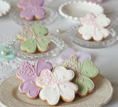 【アイシングクッキー】ハッピークローバー(SH003)10個セット 【名入れ プチギフト・結婚式・二次会・ギフト・お見送り品・退職・ウェディング・プレゼント】【国産・こだわり・かわいい・スイーツ・クッキー・お菓子・手作り】