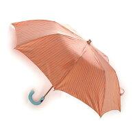 MagliaFrancesco(マリアフランチェスコ)折り畳み傘サーモンピンク×マルチカラーストライプレザーハンドルMF120