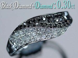 K18ホワイトゴールド天然ブラックダイヤモンド35石+ダイヤモンド26石計0.30ctリング/アウトレット/送料無料