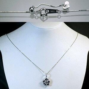 K18ホワイトゴールドブラックダイヤモンド30石/ダイヤモンド44石計0.50ctバラ型ペンダント&ネックレス/送料無料【_包装】