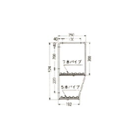 セクショナルキッチンオプションスライドシェルフ2段OタイプSUS304N2Gライフ960~1820
