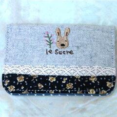定期入れ青色 ウサギのイラストが可愛い♪ 通勤・通学のPASMOやSuika入れに 学生証も入れら...
