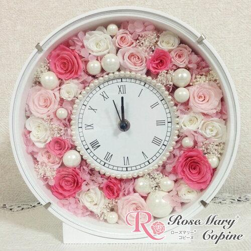プリザーブドフラワー 時計 花時計 お祝い ギフト 結婚祝い 新築祝い 母の日 ブライダル 記念日 フ...