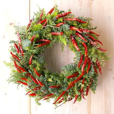 赤唐辛子のナチュラルクリスマスリース 25cm