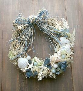 1年中海を感じていたいから、ドライフラワーと貝殻を使ったリースを飾ろう♪ハワイ サマーイン...