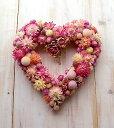 ドライフラワー リース◆ピンクハートの可愛いリース甘くやさしいハートのリース ☆ドライフラ...
