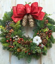 クリスマスリース モミ フレッシュ リボンが選べる Mサイズ 直径30cm