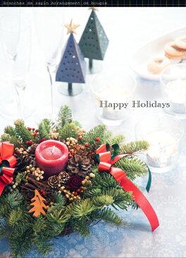 クリスマスリース キャンドルアレンジ 生のモミと赤いキャンドルのクリスマスアレンジ Branches de sapin Arrangement de bougie