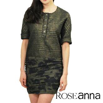 "ROSEANNA Anna サイドジップ switches one piece flower silk print × ジャガードゴールド color ""Texas-Gloria"