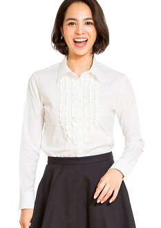 Shirt blouse frills ( white-blouse / blouse frills and blouse women's / classic / Dobby woven shirt patterned / Office / long sleeve / uniforms / white blouse )