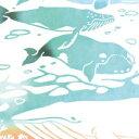 【10/10までポイント10倍!】【ネコポス可】 気音間 手ぬぐい クジラ 注染 特岡 綿100% 日本製 鯨 動物 夏 海 イルカ クジラ 36×90cm 無蛍光晒し ギフト 贈り物