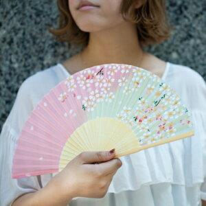 婦人用 扇子 シルク 和柄 【メール便可】女性用/桜/猫/カジュアル/ピンク/紫/ブラック/レディース
