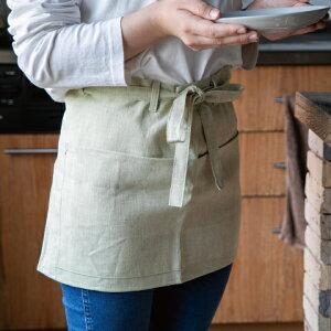 KURAKIN エプロン linen 麻 リネン 100% 日本製 ショート 腰巻 カフェ ポケット もったいない のこ...