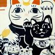 気音間 注染手ぬぐい 猫手まねき【メール便可】/手ぬぐい/てぬぐい/手拭い/招き猫/縁起物/ネコ【父の日】
