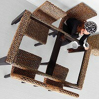 ウォーターヒヤシンス・ダイニングテーブル【ブラウン】#16(アジアン家具)