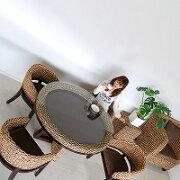 ウォーター ヒヤシンス ブラウン ダイニング テーブル アジアン リゾート