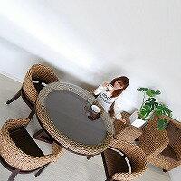 ウォーターヒヤシンス・ダイニングテーブル【ブラウン】#12(アジアン家具)
