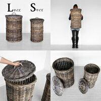【送料無料】クブ・グレイ【ランドリーバスケットSサイズ】(アジアン家具)