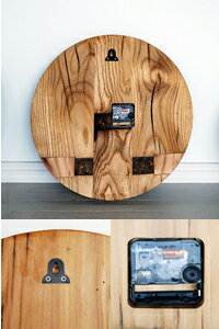 日本で当店でしか買えません!古木・古材を使った温かみある家具【送料無料】オールドエルムシリーズ【シャン】ラウンドクロック。Lサイズ。木製壁掛け時計。ギフト、プレゼントにも。