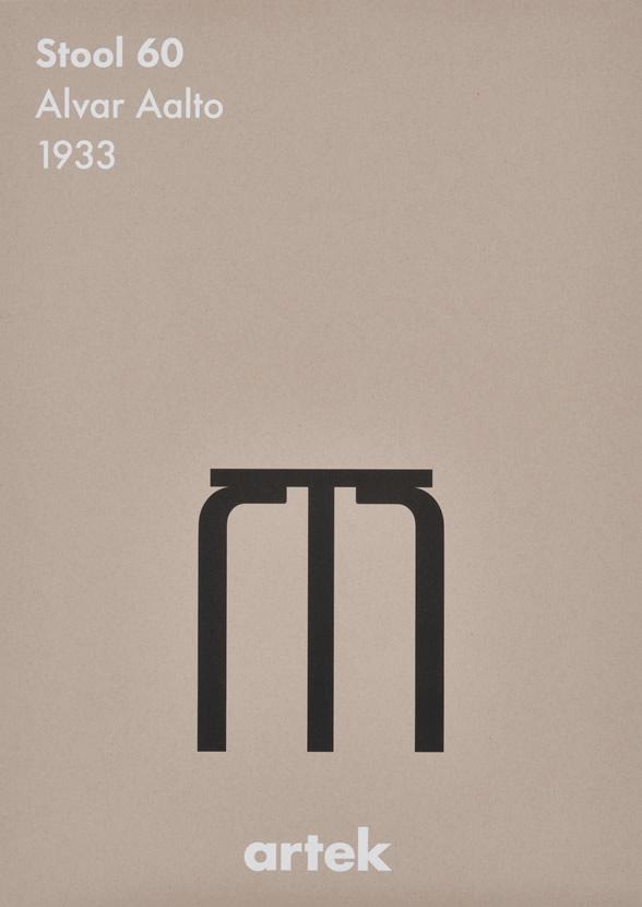 ポスター 北欧 おしゃれ かわいい モノクロ ウォールデコ アルテック Artek インテリア stool 60 BK スツール60 50×70cm