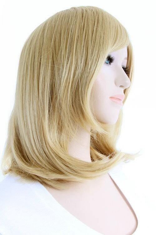 【カナリアゴールド】ミディアム【高温耐熱!!高品質コスプレ★フルウィッグ/wig】