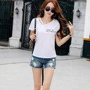 レディースVネック 2本紐デザインTシャツ ホワイト M ファッション アパレル 海外 韓国ファッション インポート セレクト スタイル デザイン