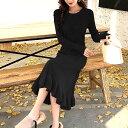 シンプルニット ロングワンピース Mサイズ ブラック ブラック ワンピース ドレス トップス 韓国ファッション 中国ファッション インポート 海外 セレクト カジュアル きれいめ 可愛い ギャル スタイル