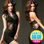 コスプレコスチューム衣装コス衣裳ナイトドレスパーティードレスドレスレースの誘惑・セクシーブラックのホルタードレス