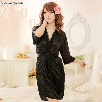 在大褂女士性感睡袍的前面的差別嬰兒多爾房服裝睡衣段子布料女性內衣室內便服睡衣maru-i00536