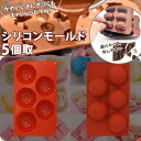 シリコンモールド 5個取 ボール型 茶 【b377-01】 【W_123】