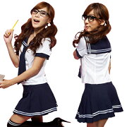 セーラー服コスプレ(半袖)・紺×白
