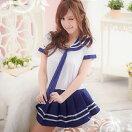 ネイビー×ホワイト・爽やかなマリン風セーラー服セーラー服女子高生制服スクールブレザーミニスカートアキバAKB