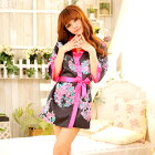黒×ピンク・リボンで結ぶ艶やかミニ着物セクシー着物浴衣ミニゆかたマイクロアニマルおいらん花魁kimono京都