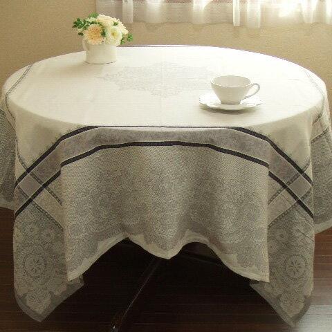 【フランス直輸入】撥水加工ジャガード織テーブルクロス(160×160cm)DENTELLE ダンテル オフホワイト 正方形