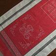 【フランス直輸入】撥水加工ジャガード織テーブルランナーロマンティックダークレッド