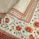 【フランス直輸入】ジャガード織マルチカバー(145×145cm)シランオレンジL'ENSOLEILLADE ランソレイヤード