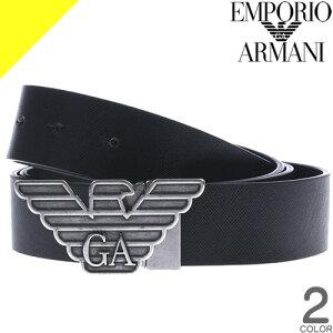 エンポリオアルマーニ ベルト メンズ 本革 ブランド カジュアル ビジネス おしゃれ ゴルフ 黒 リバーシブル 回転式バッグル EMPORIO ARMANI Y4S270 YLP4X