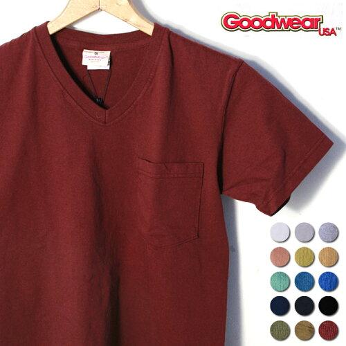 2017年版MADE IN USAグッドウェアS/S V-NECK Pocket T-shirts半袖 VネックポケットT...