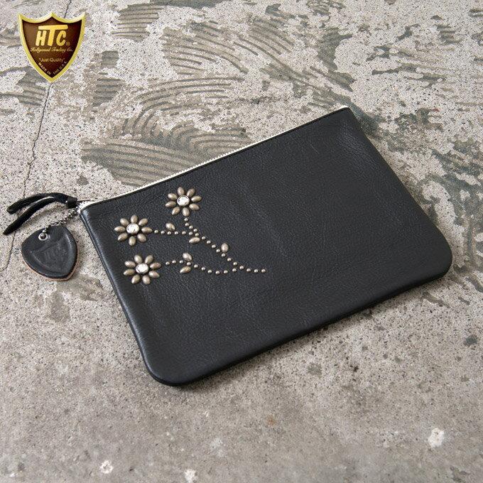 正規取扱品【HOLLYWOOD TRADING COMPANY】HTC エイチティーシーMINI CLUTH FLR14 ミニクラッチバッグ フラワーBLACK ブラック:Cott