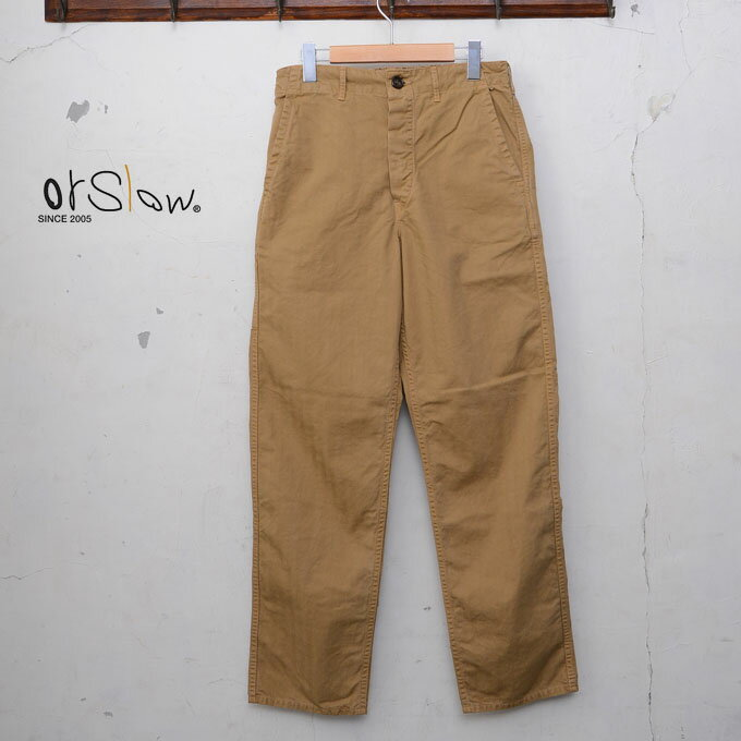 メンズファッション, ズボン・パンツ orslowUNISEX MODEL FRENCH WORK PANTSHERRING BONE TWILL COTTONKHAKI40z5x