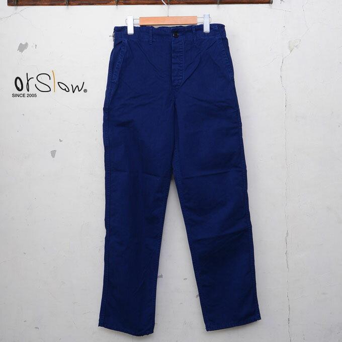メンズファッション, ズボン・パンツ orslowUNISEX MODEL FRENCH WORK PANTSHERRING BONE TWILL COTTONink blue03z5x