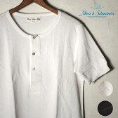 Made in GERMANY【Merz b Schwanen】メルツベーシュヴァーネンButton Facing Shirt 1/4 SLEEVE ヘンリーネック半袖Tシャツ全2色