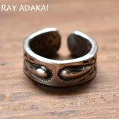 ナバホ族【RAY ADAKAI】レイアダカイDouble Stamp Ring OPEN END ダブルスタンプリングオープンエンドSize M(19号)z5x